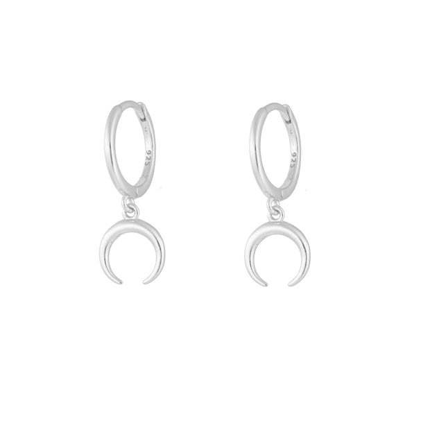 Moon Silver Dangle Hoop Huggie