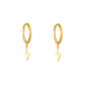 Lightning Bolt Gold Dangle Hoop Huggies