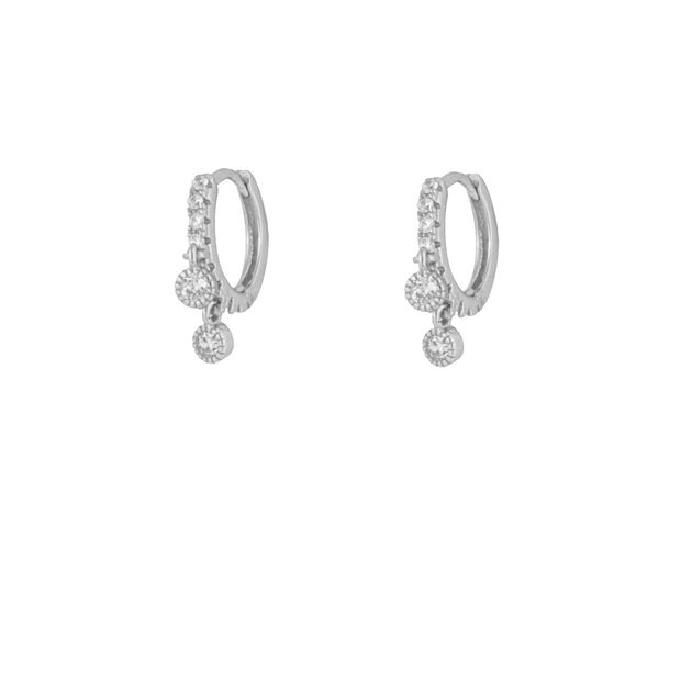 Chic Cz Circle Silver Dangle Hoop Huggies