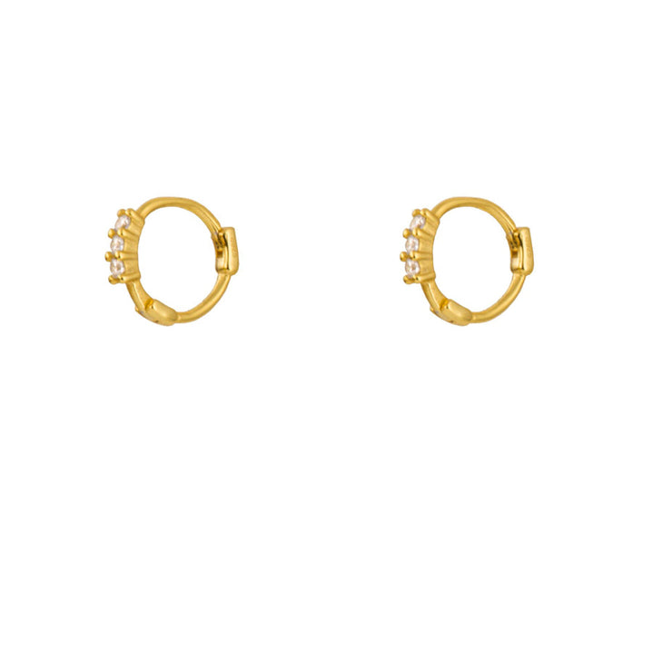 Three CZ  Little Hoop Huggies Earrings