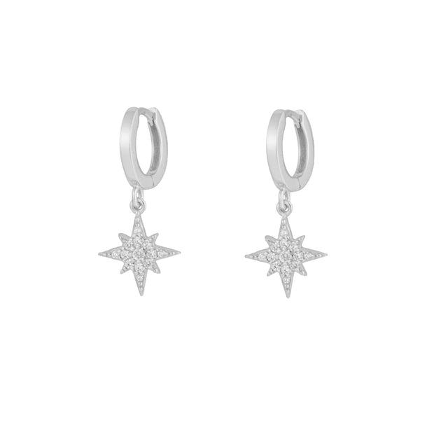 North Star Silver Dangle Hoop Huggies