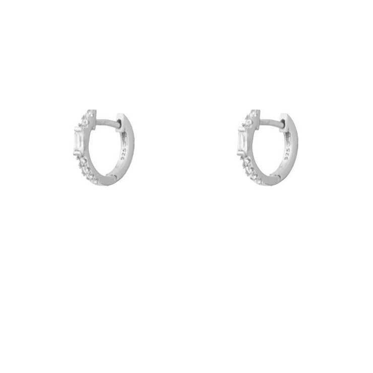 Rectangle CZ Silver Hoop Huggies Earrings