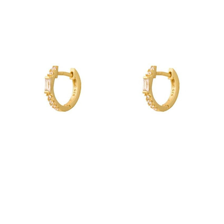 Rectangle CZ Little Hoop Huggies Earrings