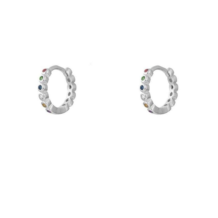 Colorful Cz Hoop Huggies