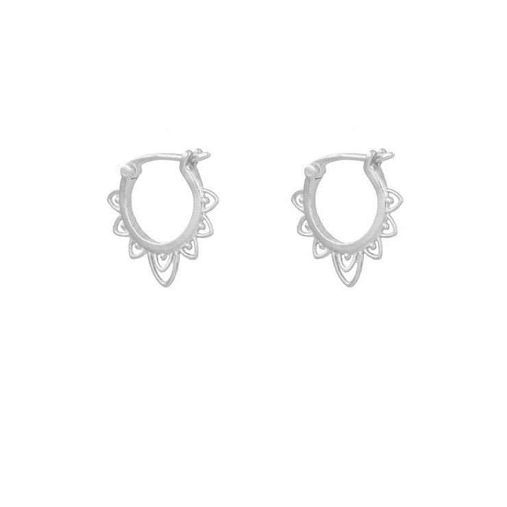 Celtic Style Silver Hoop Earrings