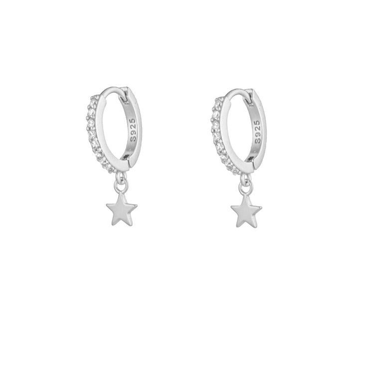 Plain Star With Cz Dangle Hoop Huggies