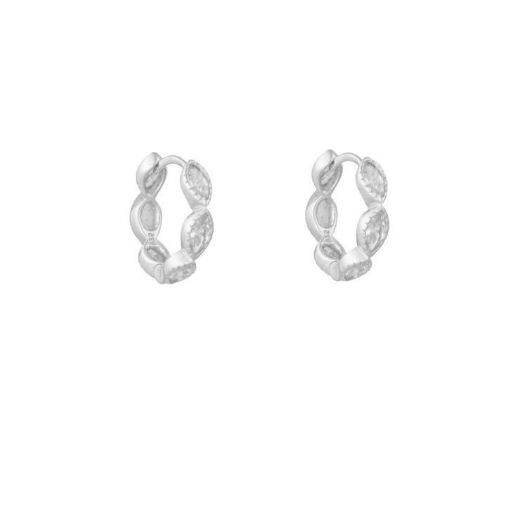 Pela CZ Little Hoop Huggies Earrings