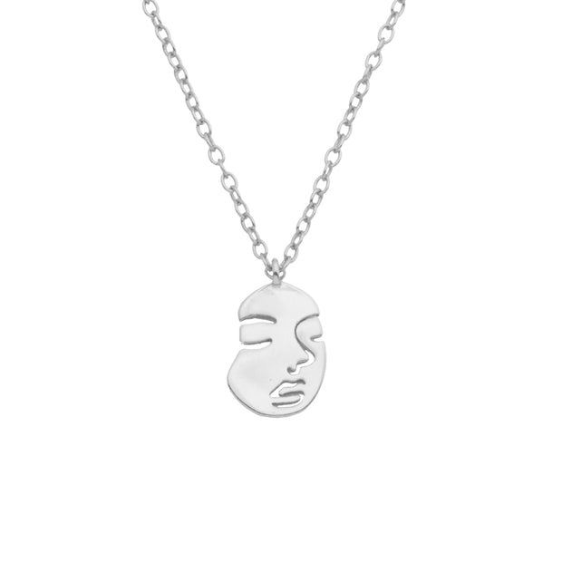 Face Silver Necklace