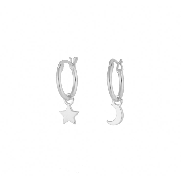 Moon and Star Silver Stylish Hoop