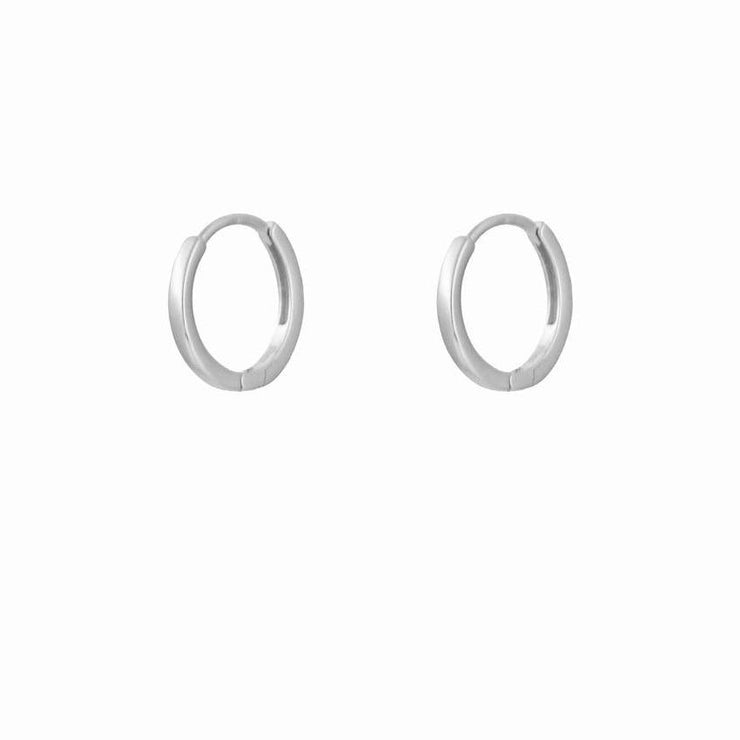 12mm Simple Plain Litttle Hoop Huggies Earrings