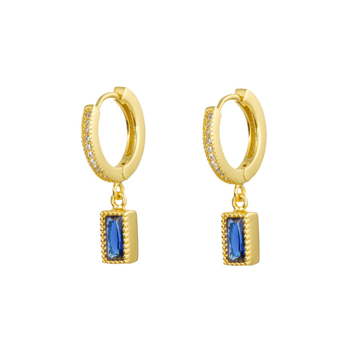 Rectangle Blue Gold Cz Dangle Hoop Huggies
