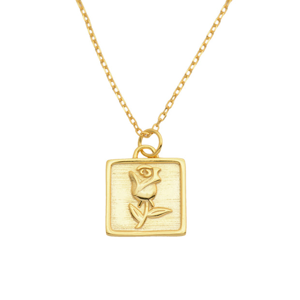 Square Shape with Rose Gold Necklace