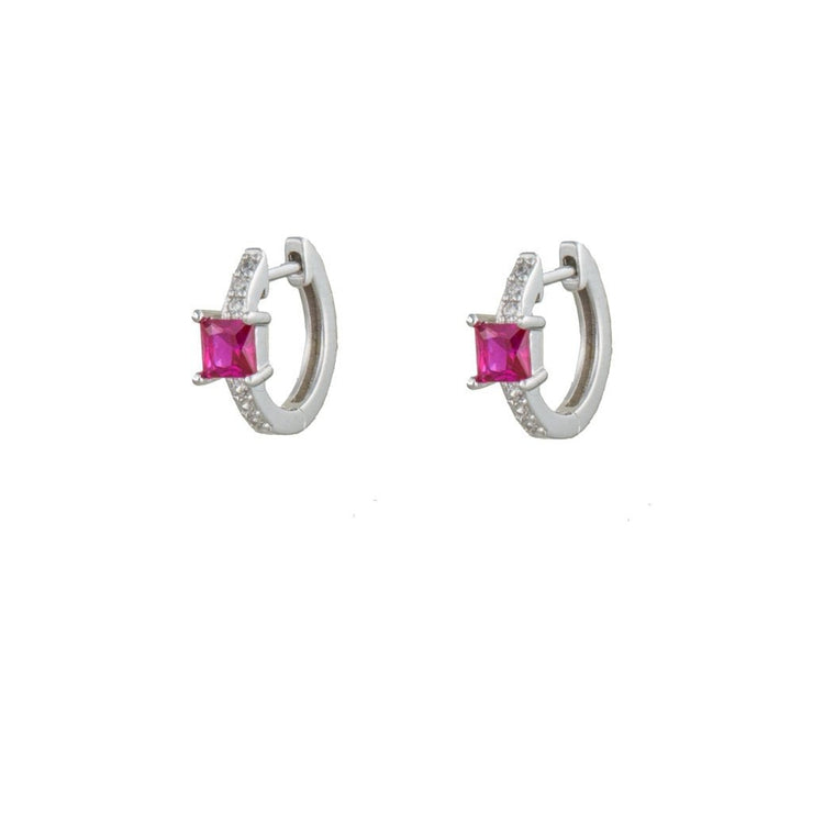 Square Pink Cz  Little Hoop Huggies