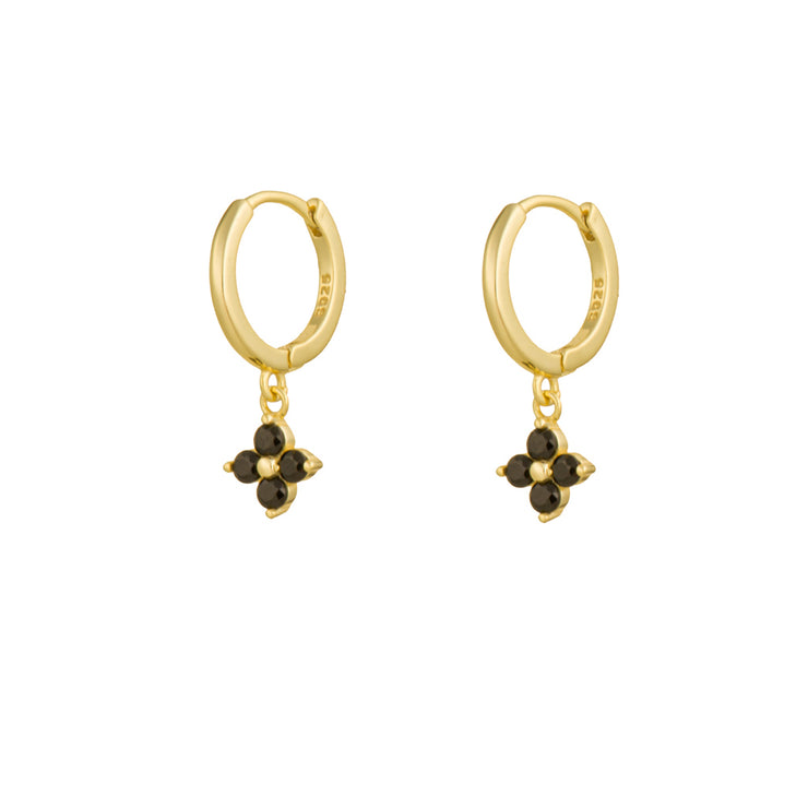 Black Cz Flower Gold Dangle Hoop Huggies
