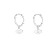 Santiago Silver Dangle Hoop Huggies