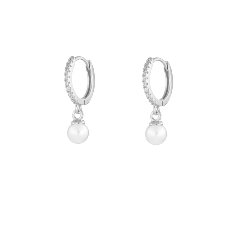 Shiny Pearl Dangle Hoop