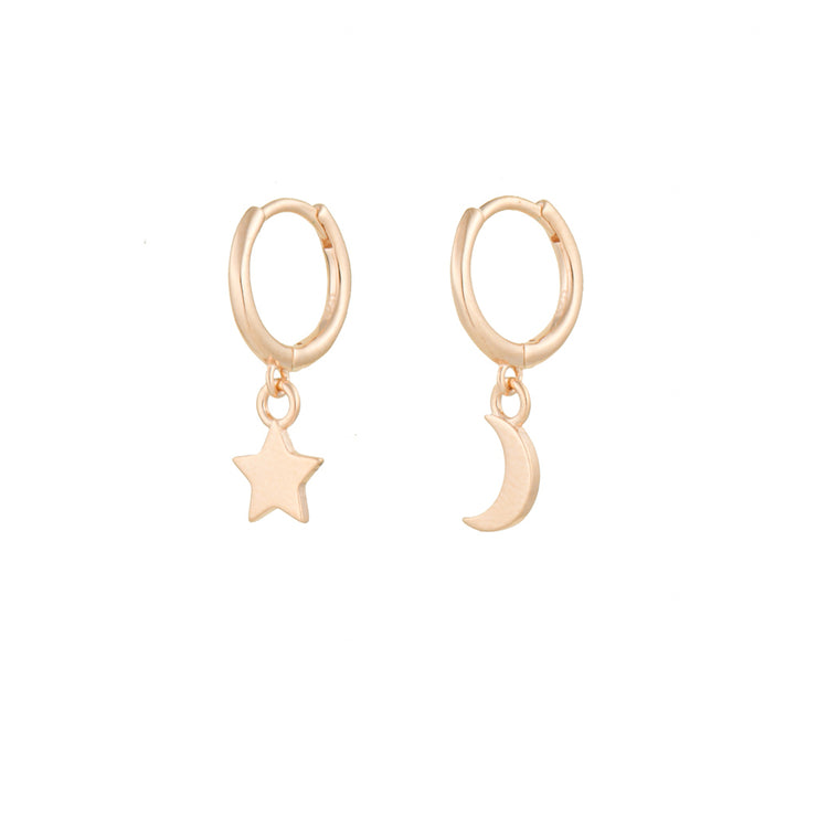 Plain Moon And Star Rose Gold Dangle Hoop Huggies