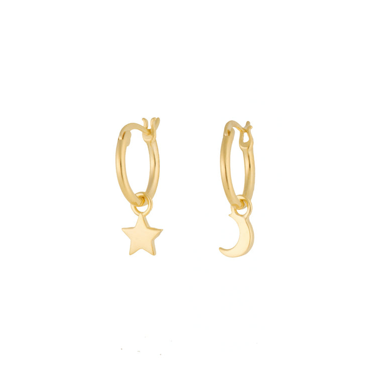 Moon and Star Gold Stylish Hoop