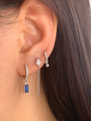 Rectangle Blue Cz Dangle Hoop Huggies
