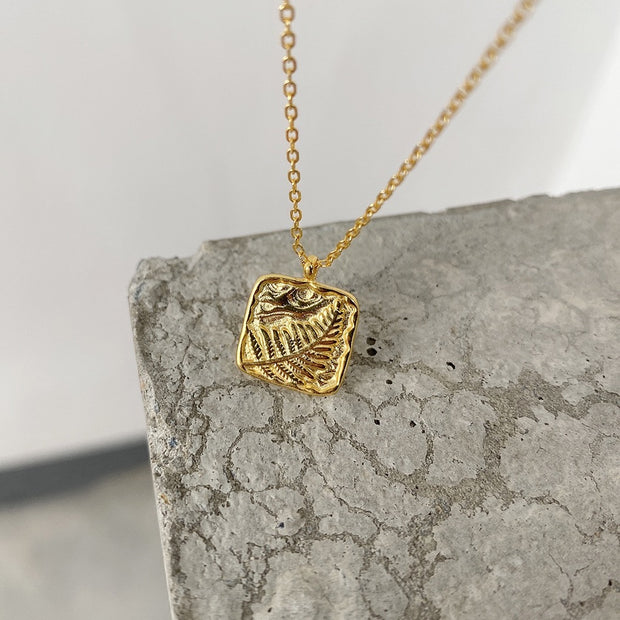 Fern Gold Coin Necklace