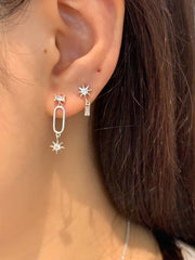 Asymmetric CZ Stud Earrings