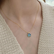 Blue Shell Gold  Necklace