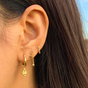 Star and Ball Gold Stud Earrings