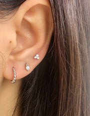 Three CZ Silver Stud Earrings