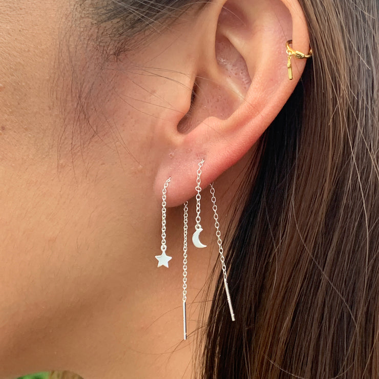 Moon and Star Silver Thread Earrings