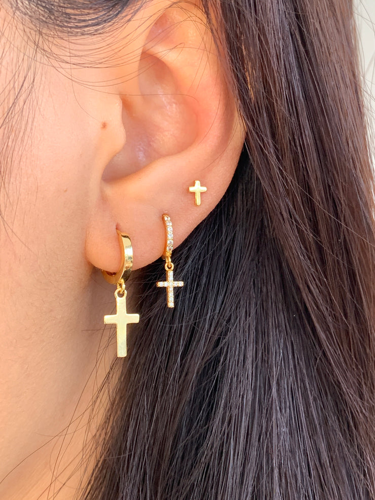 Cross Dangle Hoop Huggies Earrings