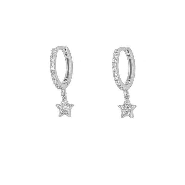Delicate Shining Star Silver Dangle Hoop Huggies