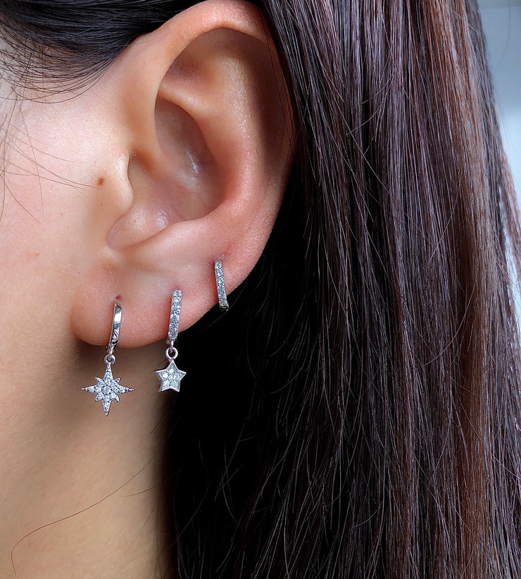 White CZ Little Hoop Huggies Earrings