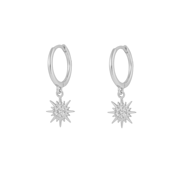 Shining Sun Dangle Hoop Huggies