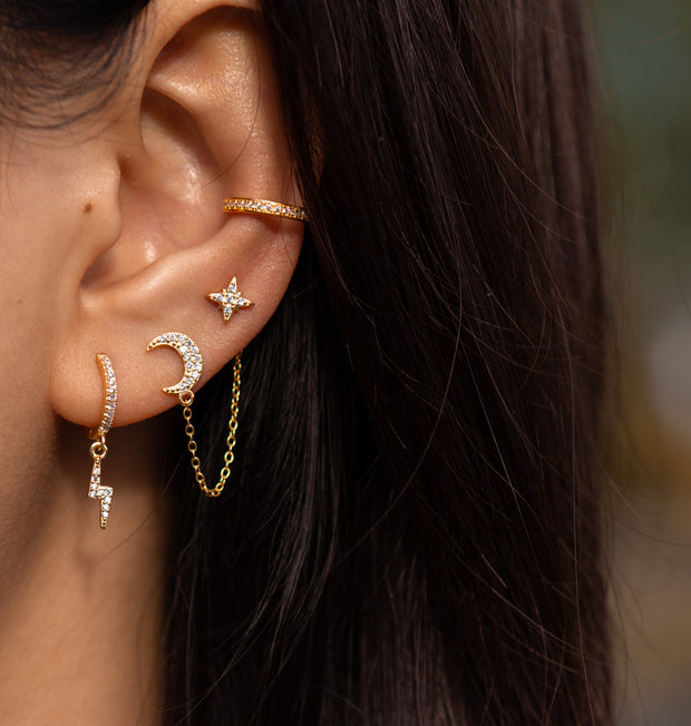 Sparkling Moon Gold Chain Stud Earrings