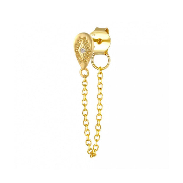CZ Drop Gold Chain Stud Earrings