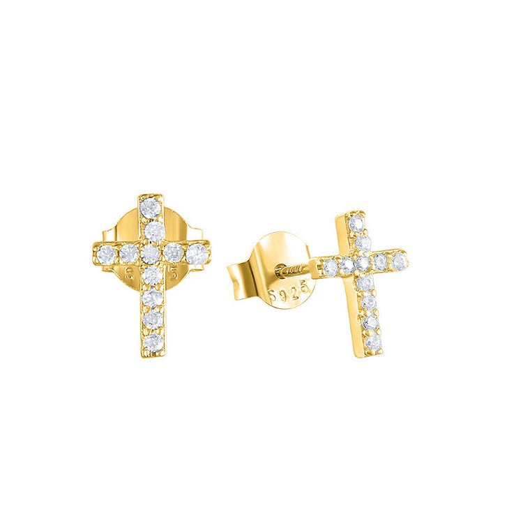 Cross Cz Gold Stud Earrings