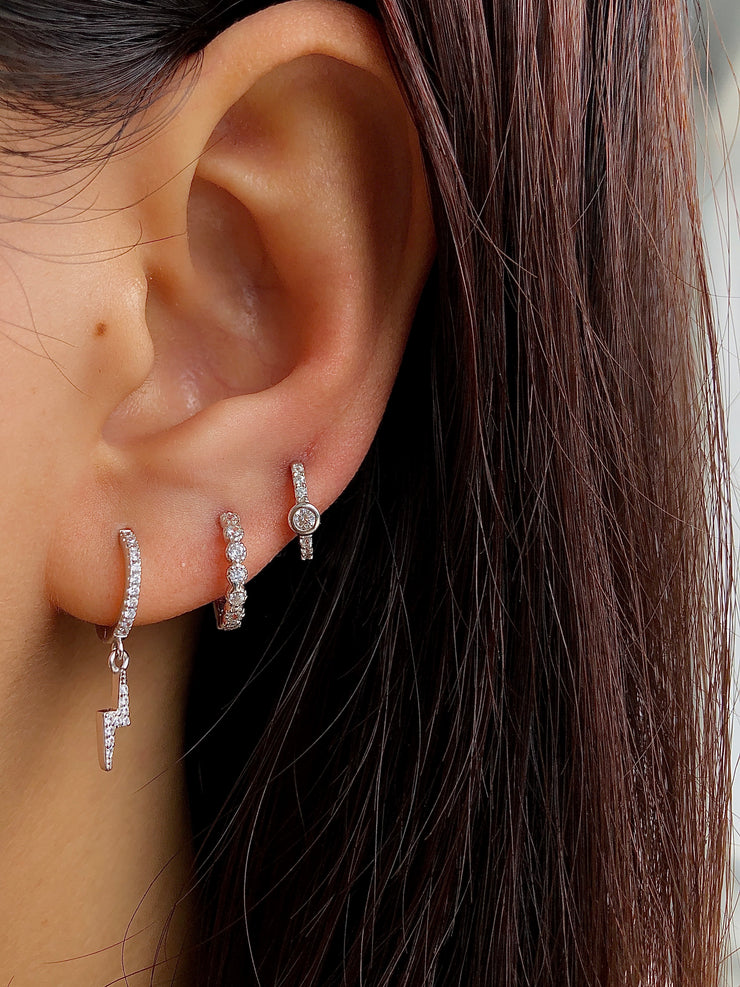 Rounded CZ Little Hoop Huggies Earrings