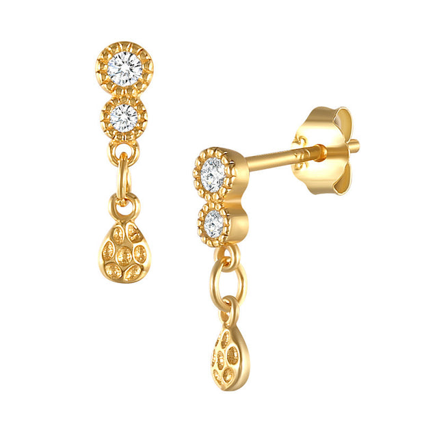 Chic Style Cz Gold Earrings