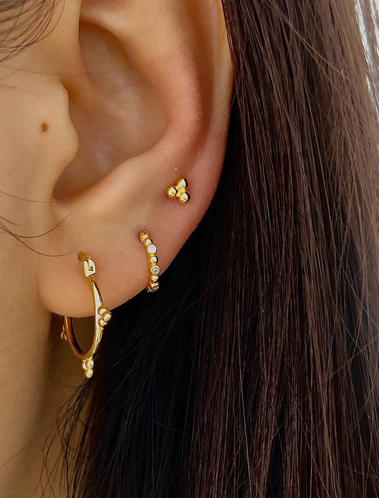 Stylish Hoop Three Beads Gold Hoop Earrings