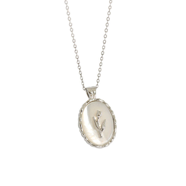 Tulip On Shell Silver Coin Necklace