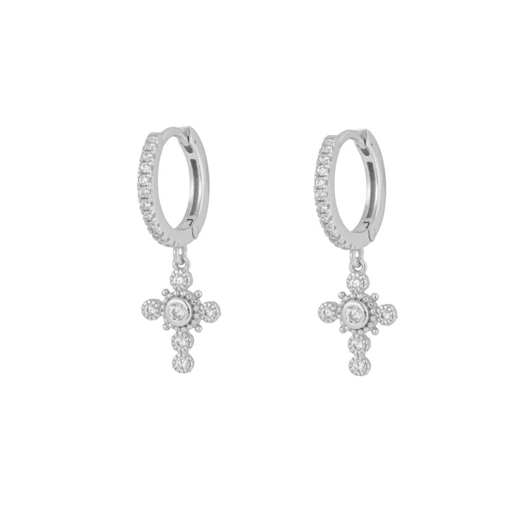 Cz Embedded Beaded Cross  Dangle Hoop Huggies