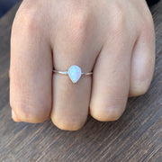 Silver Pear Ring with Opal