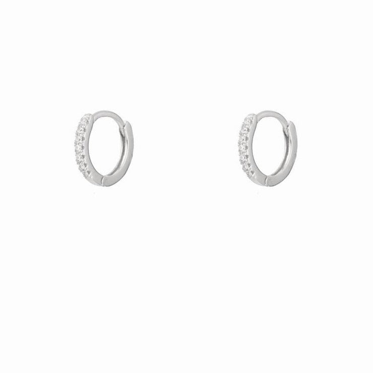 Simple White CZ  Silver Little Hoop Huggies Earrings