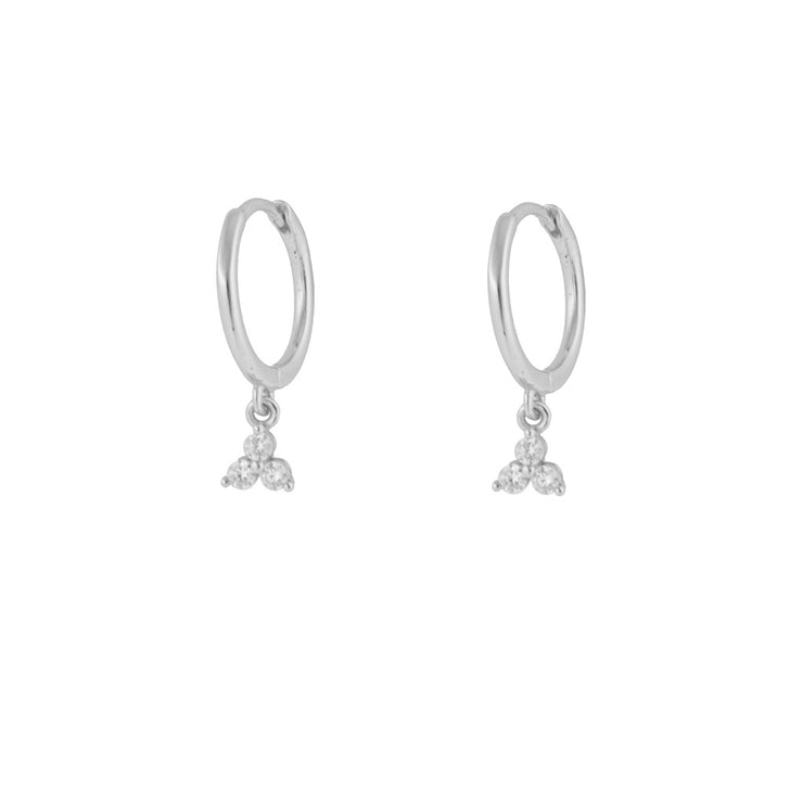 Triple Cz Dangle Hoop Huggies
