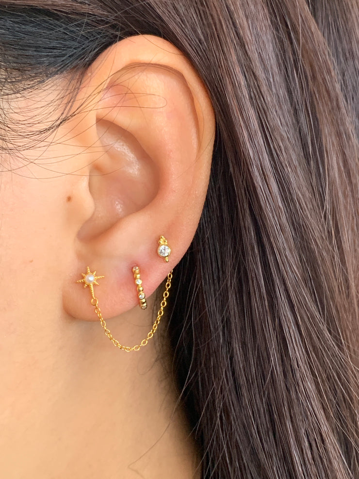 Stylish Hexagon with Pearl Chain Stud Earrings