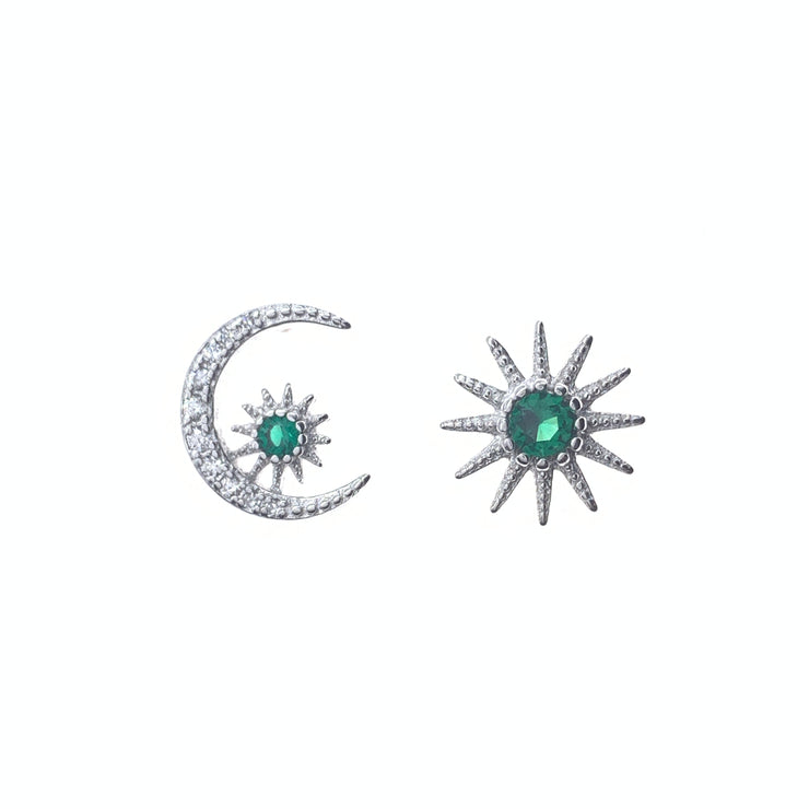 Moon and Sun Silver Stud Earrings