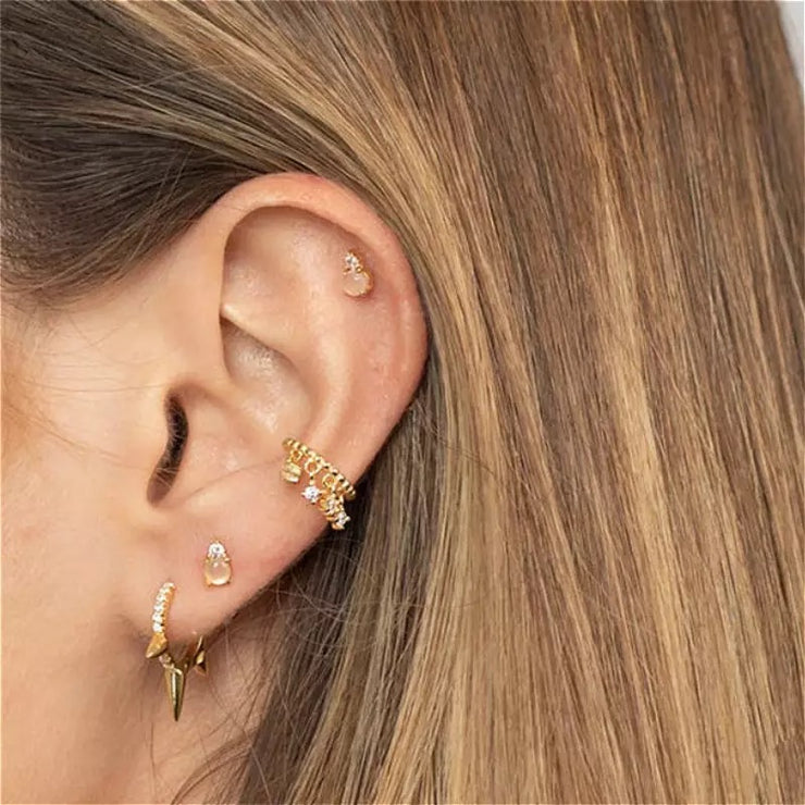 Rivets Shining Little Hoop Huggies Earrings