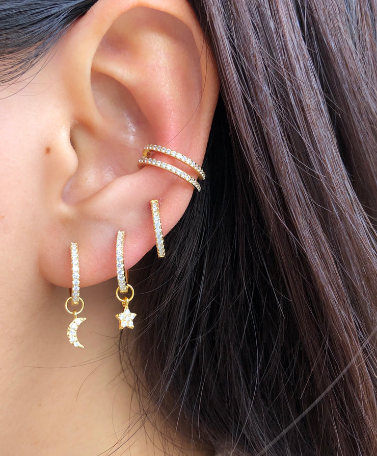 Gold Double Shining Line CZ Earcuff