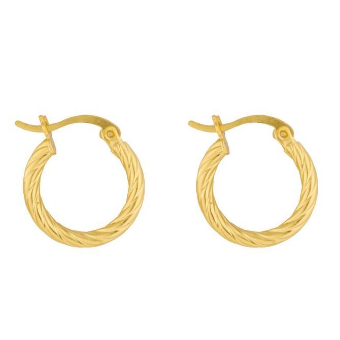 Big Stylish Hoop Twist Rope Gold  Earrings