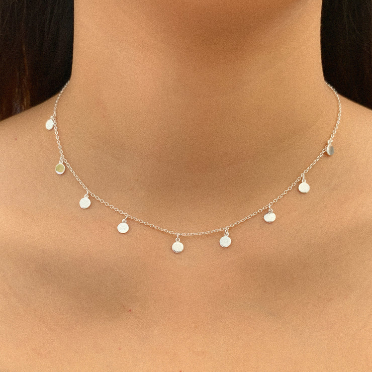 Dangle Disc Silver Choker Necklace
